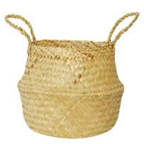 Large Seagrass Belly Basket Plant Pot Cover and Storage with Handles, Laundry, Picnic, Pot Cover   Natural Hand-Women Handmade, Soft Lightweight by NATURALNEO