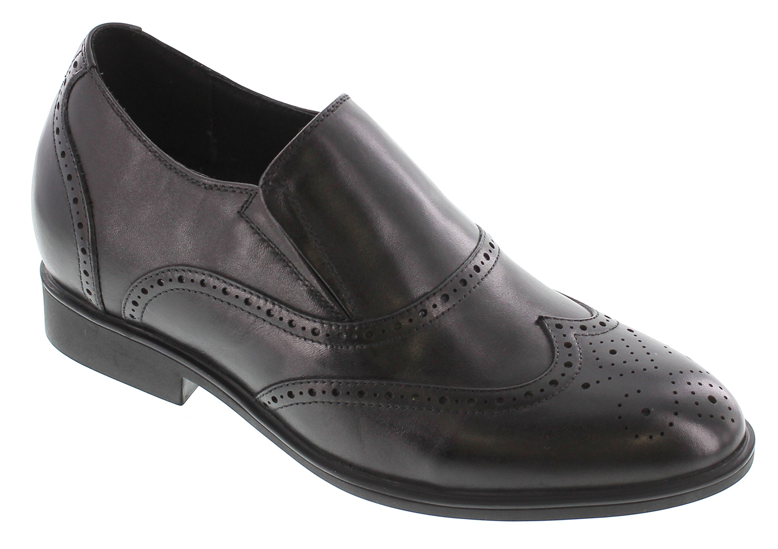 CALTO Men's Invisible Height Increasing Elevator Shoes - Black Leather Slip-on Ultra Lightweight Wing-tip Dress Loafers - 2.8 Inches Taller - G65730