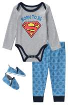 DC Comics Superman 3 Piece Infant Boys Long Sleeve Bodysuit with Pullon Pants and Matching Shoes
