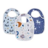 """Snap Muslin Bibs for Baby Boys,100% Cotton Baby Bibs with 3 Absorbent & Soft Layers, Baby Boy Bibs for Infants,Newborns and Toddlers,Adjustable,Machine Washable,""""Starry Tales"""""""