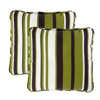 Quality Outdoor Living 29-GS02PW Decorative Throw Pillow (Set of 2), 16 x 16, Green Stripe