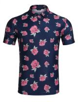 COOFANDY Men's Classic Floral Stripe Long Short Sleeve Light Weight Polo Shirts