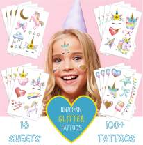 Sovereign-Gear Unicorn Temporary Tattoos for Kids Birthday Party - 16 Sheets Watercolors with Sparkle Gold Glitter | Perfect Unicorn Party Favors | Fun Unicorn Birthday Party Supplies & Decorations