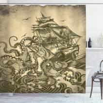"""Ambesonne Nautical Shower Curtain, Kraken Octopus Tentacles with Ship Sail Old Boat in Ocean Waves, Cloth Fabric Bathroom Decor Set with Hooks, 70"""" Long, Yellow Olive"""