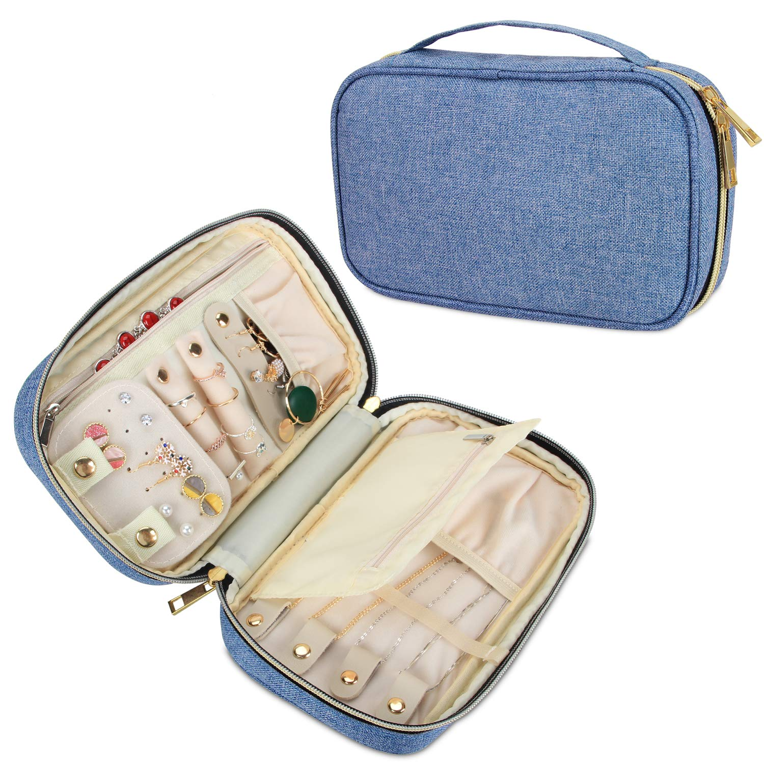 Teamoy Travel Jewelry Organizer Case, Jewelry Storage Bag for Necklaces, Earrings, Bracelets, Rings, Brooches and More, Medium, Blue-(Bag Only)