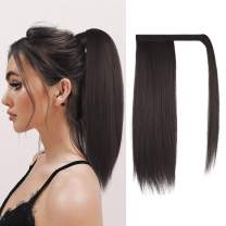 FESHFEN Straight Ponytail Extension 16 inch Natural Long Ponytails Wrap Around Clip in Hair Piece Synthetic Hairpieces for Women Girls, Medium Brown