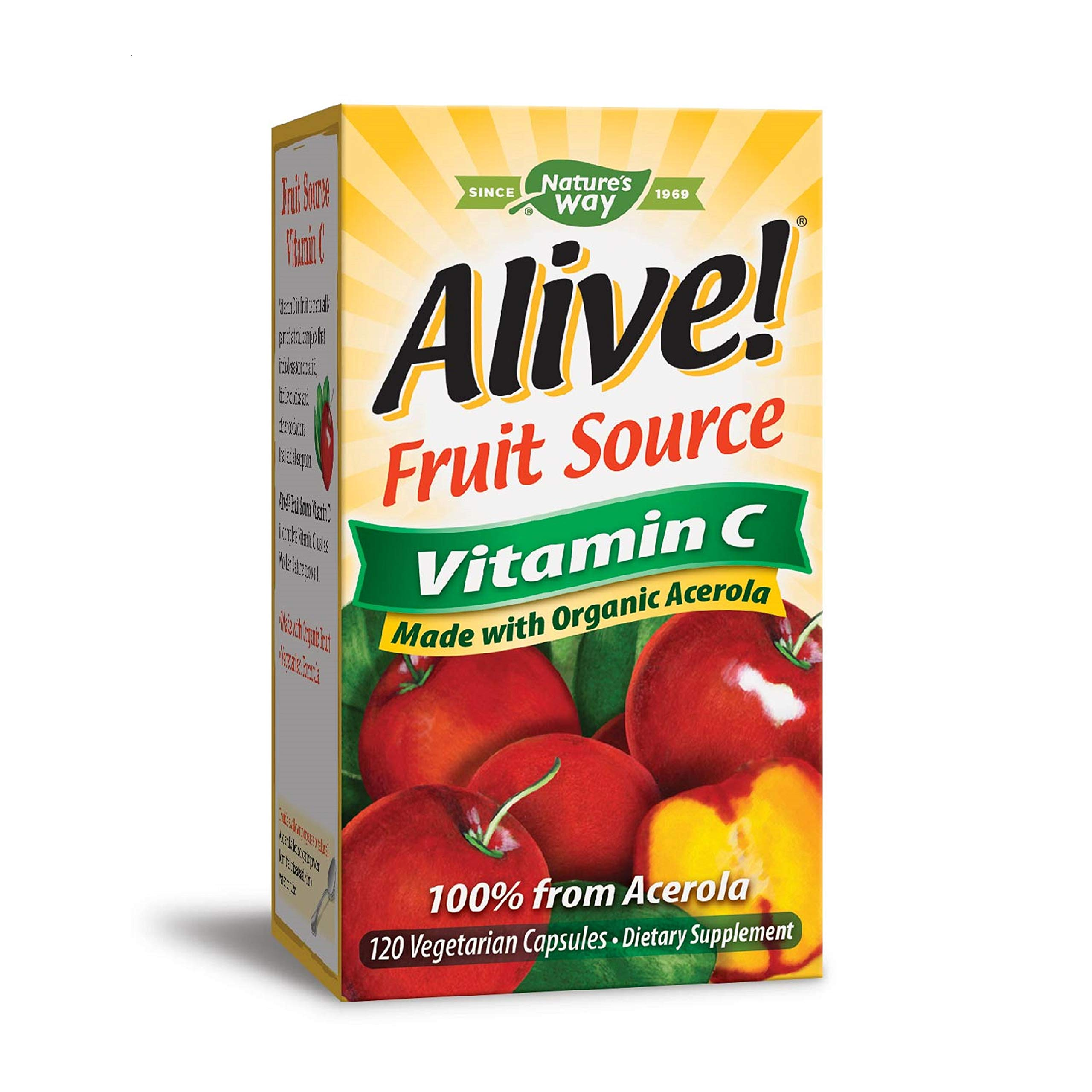 Nature's Way Alive!  Vitamin C Supplement, Made with Organic Fruit, 120 Vegetarian Capsules (Packaging May Vary)