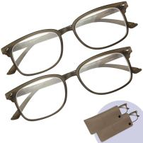 Reading Glasses Men & Women - 2 Pack Spring Hinge Readers with Protective Pouches