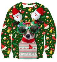 uideazone Unsiex Funny Ugly Christmas Sweater 3D Printed Crew Neck Pullover Sweatshirts for Xmas Party