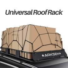 """ARKSEN 64"""" Universal Roof Rack Cargo Extension with Cargo Net Car Top Luggage Holder Carrier Basket SUV Camping, Black"""