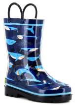 Western Chief Boys Waterproof Printed Rain Boot with Easy Pull On Handles