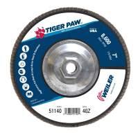 "Weiler 51140 Tiger Paw High Performance Abrasive Flap Disc, Type 27 Flat Style, Phenolic Backing, Zirconia Alumina, 7"" Diameter, 5/8""-11 Arbor, 40 Grit, 8600 RPM (Pack of 10)"