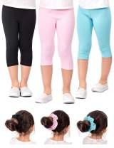 DEAR SPARKLE Girls' Capri Leggings 3 Pack Girl Stretch Kids Toddler Pants + Hair Ties (G2)