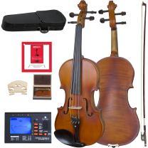 Cecilio CVA-500 Solidwood Ebony Fitted Viola with D'Addario Prelude Strings, Size 12-Inch