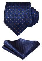 HISDERN Polka Dots Tie Woven Classic Men's Necktie & Pocket Square Set