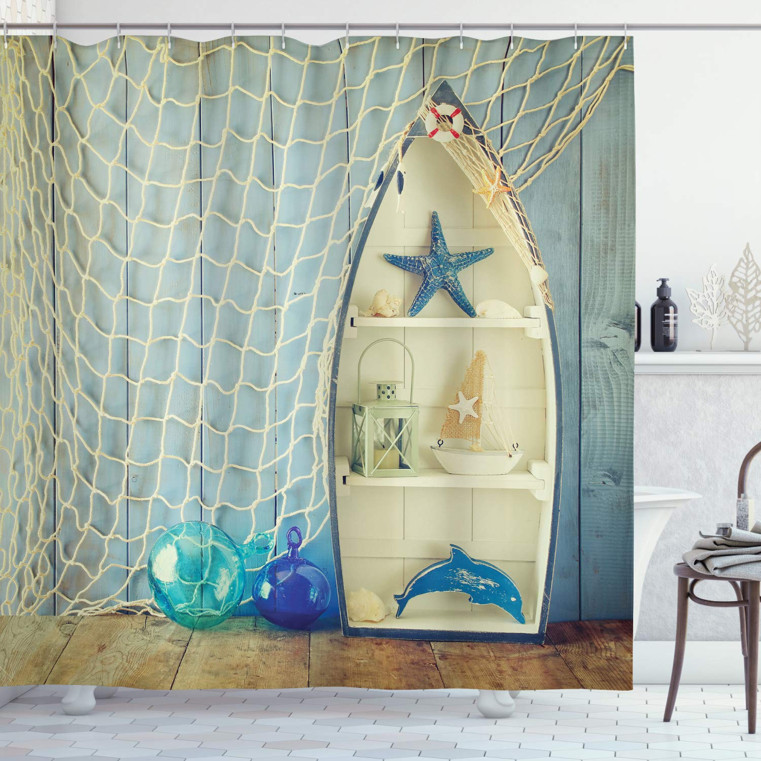 """Ambesonne Nautical Shower Curtain, Nautical Boat Standing Against The Wall Other Aquatic Objects Sea Featured Picture, Cloth Fabric Bathroom Decor Set with Hooks, 70"""" Long, Blue Beige"""