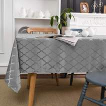 "Melodieux Moroccan Jacquard Tablecloth Geometric Table Cover Spill Oil Dusty Proof Water Wrinkle Resistant for Kitchen Dining Room Tabletop Decoration, Rectangle, 60"" x 102"", Silver Grey"