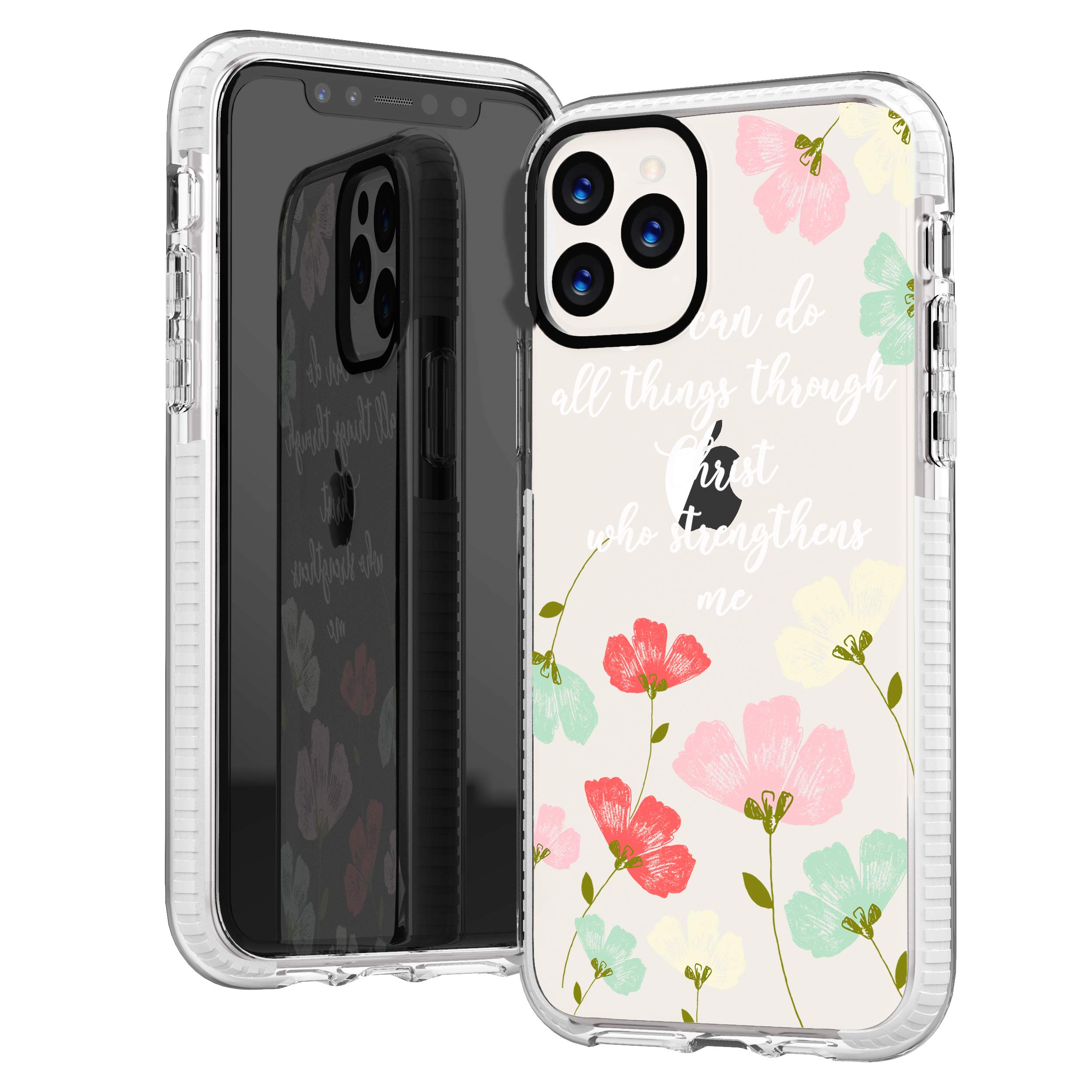 iPhone 11 Pro Max Case,Yellow Daisy Trendy Floral Flowers Bible Verses Motivational Girls Women Quotes I Can Do All Things Through Christ Soft Protective Clear Case Compatible for iPhone 11 Pro Max