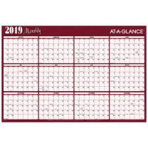 "AT-A-GLANCE 2019 Yearly Wall Calendar, 48"" x 32"", Jumbo, Erasable, Reversible, Horizontal, Red/Blue (A152)"
