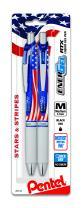 Pentel Gel Ink Pen, Retractable Gel Pen, Flag Barrel, Black Ink, 2-Pk (BL77USABP2A)