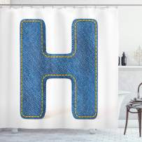 """Ambesonne Letter H Shower Curtain, Denim Letter Design Uppercase H Pattern Jeans Texture Retro Typography, Cloth Fabric Bathroom Decor Set with Hooks, 70"""" Long, Yellow Blue H"""