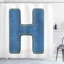 """Ambesonne Letter H Shower Curtain, Denim Letter Design Uppercase H Pattern Jeans Texture Retro Typography, Cloth Fabric Bathroom Decor Set with Hooks, 75"""" Long, Yellow Blue H"""