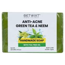 Betwixt Green Tea & Neem Natural Bar Soap, with Organic Tea Tree Oil for All Skin Types, Vegan, 100% Handmade with Organic Ingredients, Face & Body Wash, For Men, Women & Teens, 125 gm