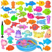 42PCs Magnetic Fishing Toys with 11 Inch Fishing Pool, 2 Fishing Rodes, 29 Fishes and 7 Sea Animals with Light, Toddler Bath Toys, Water Toys Fishing Game for Kids