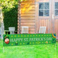 Large Happy St. Patrick's Day Banner| St. Patrick's Day Decorations| Shamrock Clover Banner| Irish Party Supplies Decorations | St. Patrick's Day Home Indoor Outdoor Hanging Decor (8.2 x 1.5 FT)