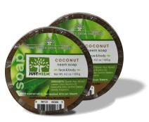Neem Soap - 2 Pack - Coconut - Face & Body - Glycerin & Coconut Oil - Relieves Dryness, Maintains Healthy Skin - 4.2oz