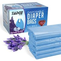 Tadge Goods Baby Disposable Diaper Bags – Biodegradable Diaper Sacks with Lavender Scent & Added Baking Soda to Absorb Odors - 400 Count (Blue)