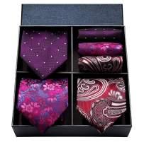 HISDERN 3 PCS Extra Long Tie Set, 63 Inch XL Necktie & Pocket Square + Gift Box