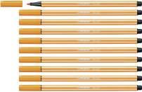 STABILO Pen 68 Orange Pack of 10 - Premium Felt-tip Pen