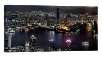 LightFairy Glow in The Dark Canvas Painting - Stretched and Framed Giclee Wall Art Print - City Urban Decor Hong Kong - Master Bedroom Living Room Decor - 6 Hours Glow - 46 x 24 inch