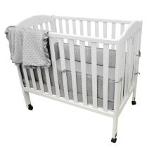 American Baby Company Heavenly Soft Minky Dot Chenille Portable/Mini Crib Bedding Set, Gray, 3 Piece, for Boys and Girls