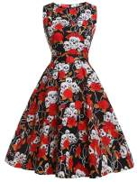 FAIRY COUPLE 50s Vintage Retro Floral Cocktail Swing Party Dress with Bow DRT017(XL, Red Skull)