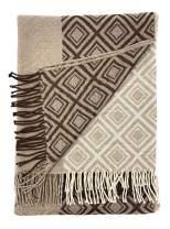 Alpaca Home | Geometric Panel Alpaca Throw Blanket | 100% Baby Alpaca Wool | 5.9 Feet Long X 4.25 Feet Wide | Hypoallergenic, Soft & Cozy (Earth)