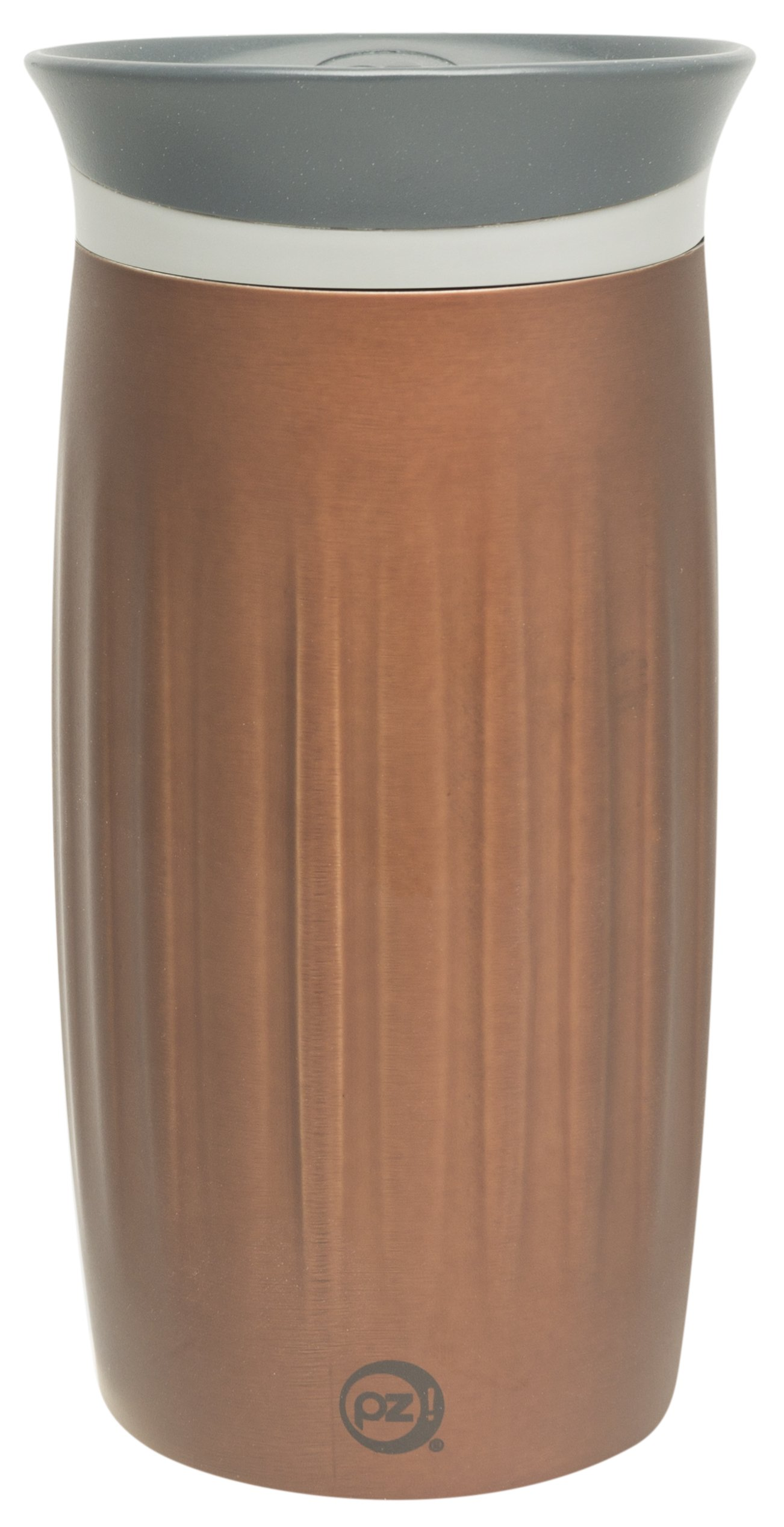 Zak Designs Fluted Stainless Steel Double Wall Vacuum Tumbler with Insulated Button Lid Chestnut, 12 oz, Multicolor