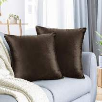 """Nestl Bedding Throw Pillow Cover 18"""" x 18"""" Soft Square Decorative Throw Pillow Covers Cozy Velvet Cushion Case for Sofa Couch Bedroom, Set of 2, Chocolate Brown"""