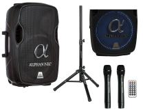 """Alphasonik 12"""" Portable Rechargeable Battery Powered 1200W PRO DJ Amplified Loud Speaker with 2 Wireless Microphones Echo Bluetooth USB SD Card AUX MP3 FM Radio PA System LED Ring Karaoke Tripod Stand"""