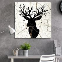 wall26 - Square Canvas Wall Art - Deer Antlers Wood Effect Canvas - Giclee Print Gallery Wrap Modern Home Decor Ready to Hang - 24x24 inches