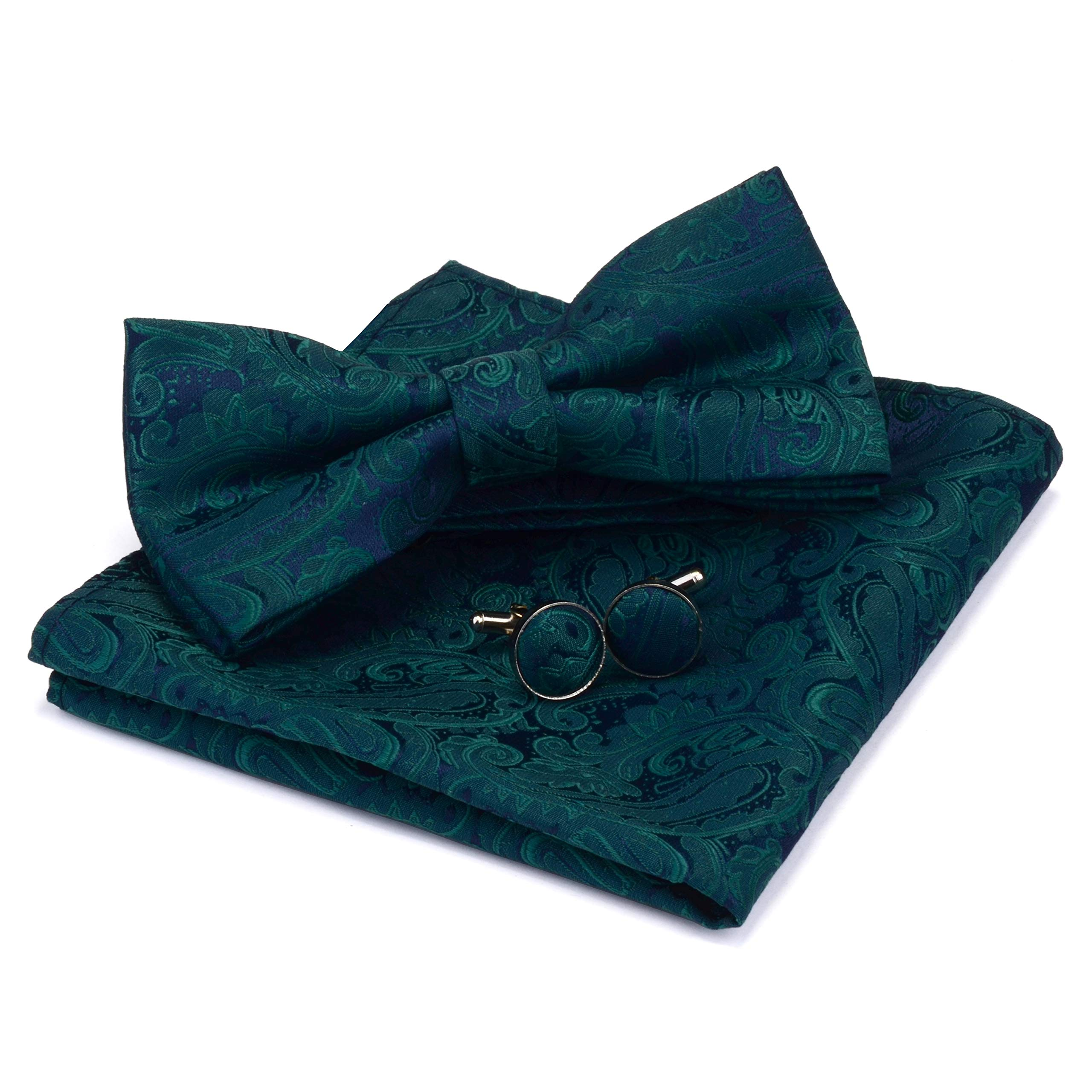 GUSLESON Brand New Paisley Adjustable Pre-tied Bow Tie and Pocket Square Cufflink Set with Gift Box
