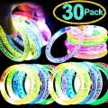 TURNMEON 30 Pack LED Light Up Bracelet, Glow in the Dark Party Supplies Glow Sticks Bracelets Toys Party Favors for Carnival Birthday Wedding Festival Decorations