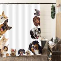 """MitoVilla Cats and Dogs Friendship Shower Curtain Set with Hooks, Funny Pet Bathroom Art Printing Bathroom Curtain for Baby Kids, Teenage Children and Animal Lovers Gifts, Brown, 72"""" W x 78"""" L"""
