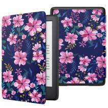 MoKo Case Fits All-New Kindle (10th Generation - 2019 Release Only), Thinnest Protective Shell Cover with Auto Wake/Sleep, Will Not Fit Kindle Paperwhite 10th Generation 2018 - Blue & Pink Flower
