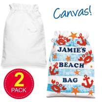 Baker Ross Large Plain Fabric Drawstring Bags, Canvas Bag for Kids to Personalise and Paint Your Own in Kids Arts and Crafts (Pack of 2)