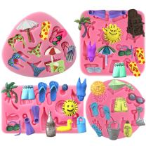 Funshowcase Summer Beach Holiday Fondant Silicone Mold for Cupcake Topper, Polymer Clay Crafting 4-Count