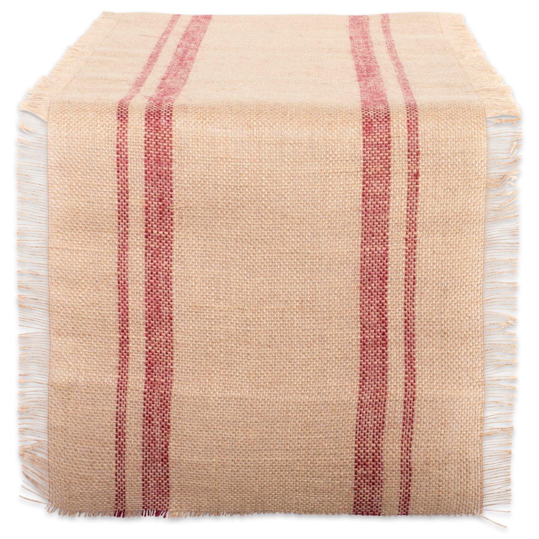 DII CAMZ38409 Barn Border Burlap Table Runner, 14 x 72, Double Stripe Red