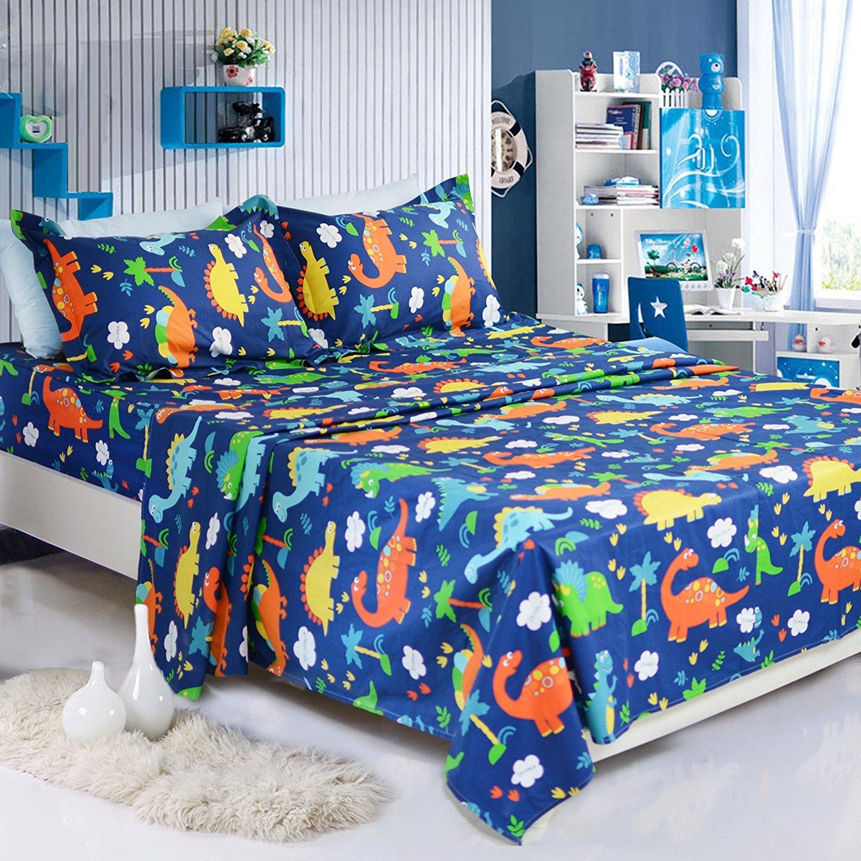 Brandream Kids Sheets Queen Size Cotton Set Boy Dinosaur Bedding Sets Blue Children Bed Sheet Set Deep Pockets 18