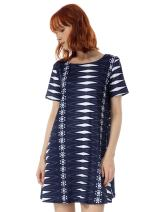 OEUVRE Women's Jersey Short Sleeve Tunic Asymmetrical Pattern Dress